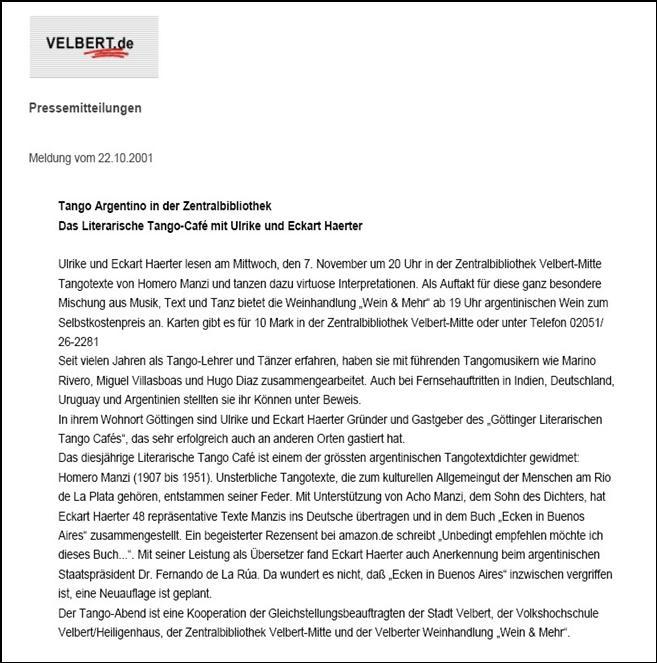 Velbert Pressemitteilung